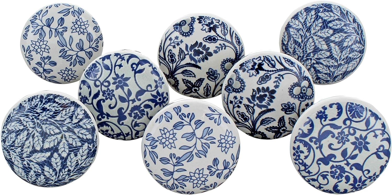 G Decor - Juego de 8 pomos de cerámica para Puerta de Armario o cajón, diseño Vintage, Estilo Shabby Chic