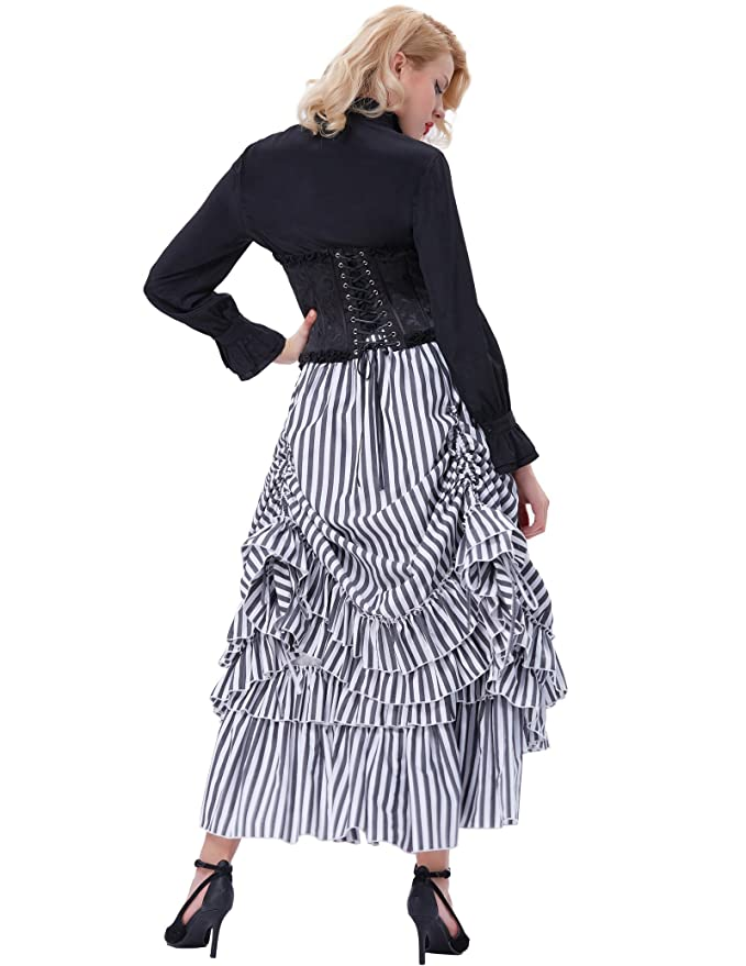Victorian Steampunk Clothing & Costumes for Ladies Belle Poque Womens Vintage Black & White Stripes Gothic Victorian Costume Skirt BP354 $37.99 AT vintagedancer.com