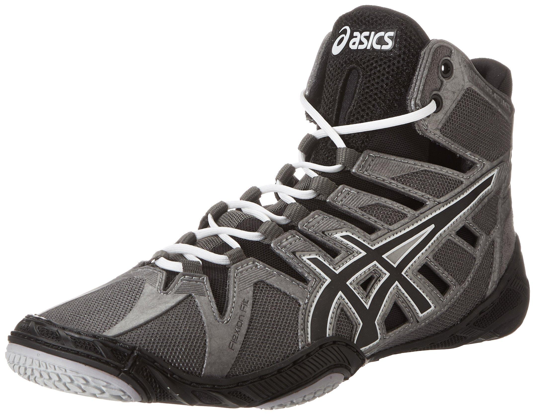 ASICS Men's Omniflex-Attack Wrestling Shoe,Charcoal/Black/White,8.5 M US