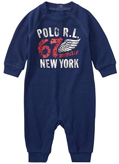 1d253c0f86 Amazon.com: RALPH LAUREN Baby Boys Waffle-Knit Graphic Coverall ...