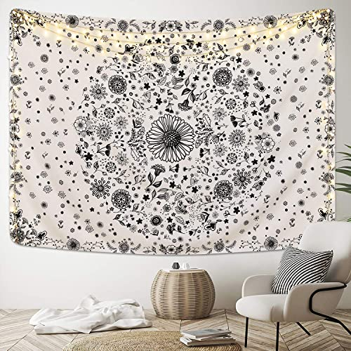 Lyacmy Bohemian Mandala Tapestry Medallion Floral Tapestries Boho Hippie with Dotted Daisy Tapestry for Bedroom 70.9 x 92.5 inches