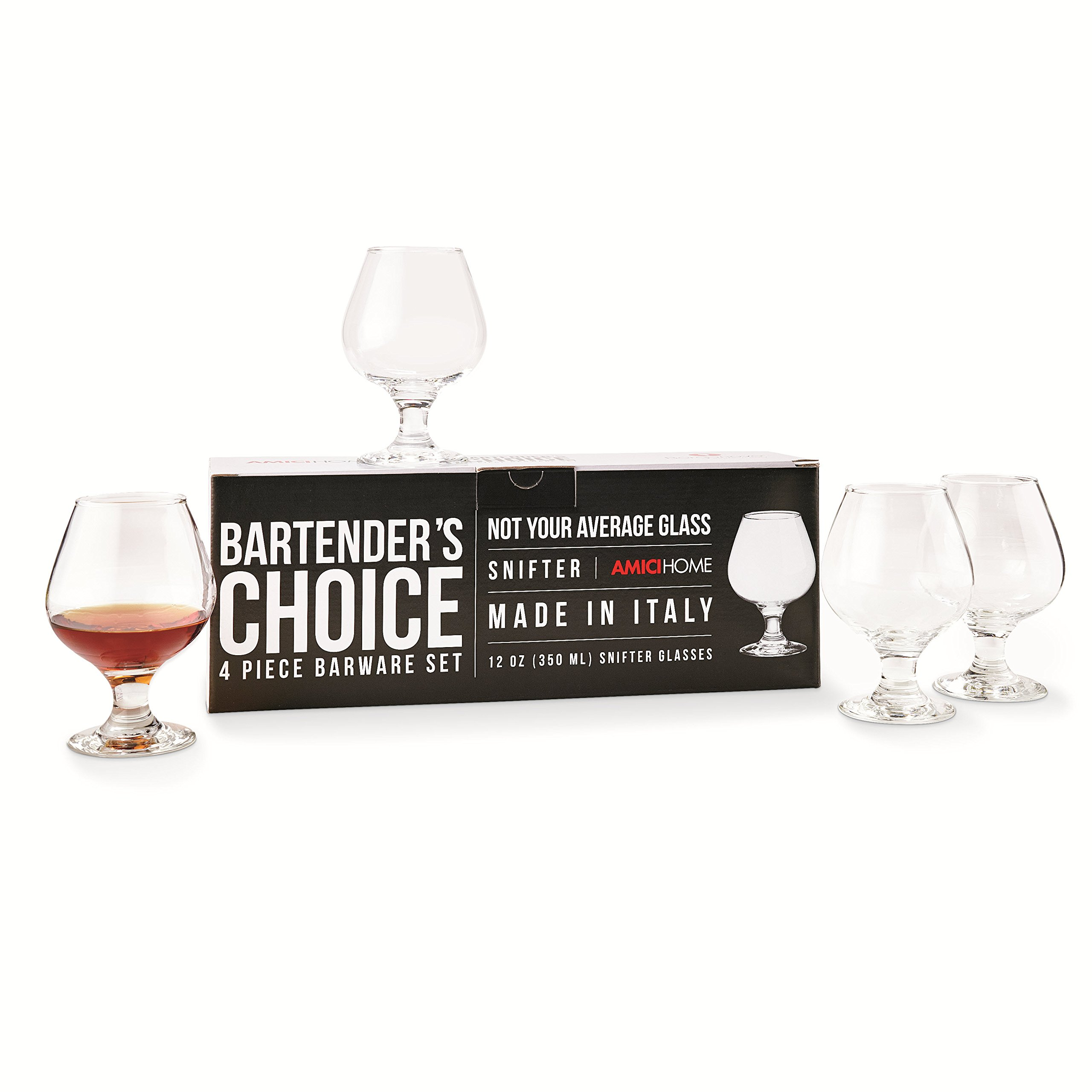 Amici Bartender's Choice Footed Snifter Glass, 12 oz. - Set of 4