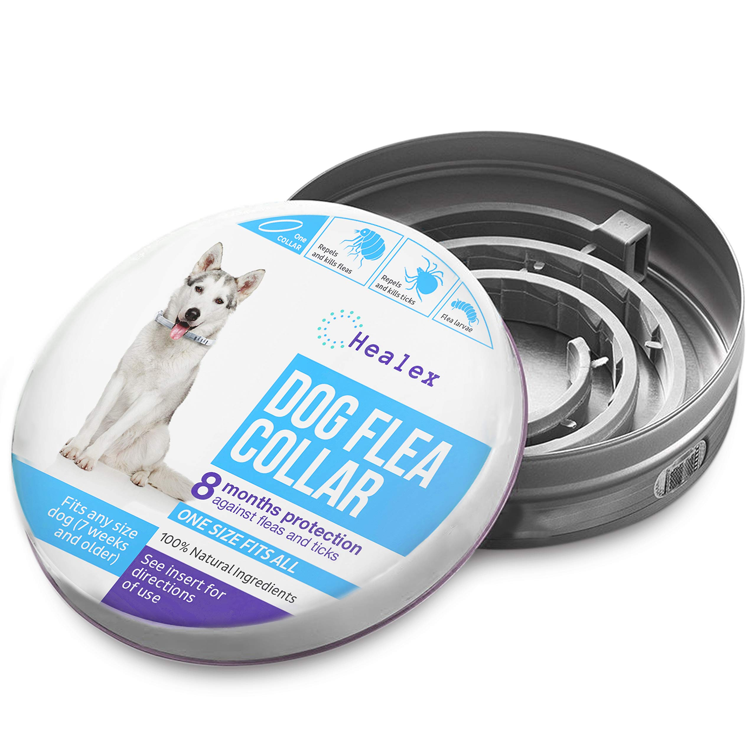 Healex Dog Flea Collar for Flea and Tick Treatment and Prevention | One Size Fits All, Collars Work for Dogs and Puppies, 100% Natural Ingredients | Helpful E-Book Included by Healex