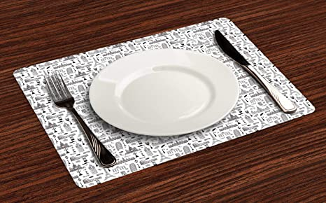 """Ambesonne Place Mats 4 Piece Set Fabric Placemats Dining Room 12.5/"""" x 18.5/"""""""