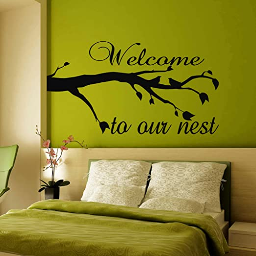 welcome to our nest with love birds wall art decal vinyl sticker decor