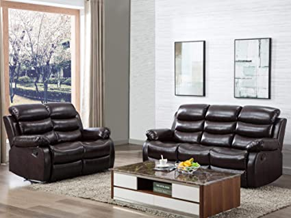 Amazon.com: Harper&Bright Designs PU Leather Sectional Reclining ...