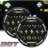 """TURBO SII DOT Approved Pair 75W 7""""Inch Round LED Projector Headlights with White DRL Hi/Lo Beam For Wrangler CJ-5 CJ-7…"""