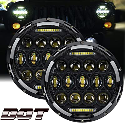 "TURBO SII DOT Approved Pair 75W 7""Inch Round LED Projector Headlights"