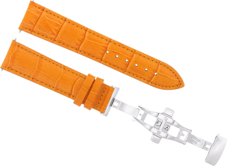 19mm レザー腕時計バンド ストラップ付きデプロイメント留め金 ロング オレンジ 2B用
