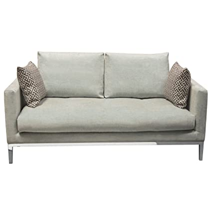 Merveilleux Diamond Sofa CHATEAULOGR Chateau Loose Pillow Back Loveseat In Royal  Sapphire Grey Fabric U0026 Polished Leg
