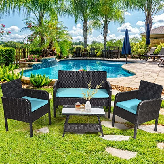 Tangkula 4 Piece Patio Outdoor Conversation Set with Glass Coffee Table, Loveseat & 2 Cushioned Chairs Garden Lawn Rattan Wicker Patio Chat Set Outdoor Furniture Set (Blue) (1) - Sturdy Frame & Hand-Woven Rattan: Our 4-piece patio furniture set is made of superior steel and premium PE rattan that ensures the stability and durability. And the exquisite craftsmanship improves overall weight capacity. Besides, the set can withstand moderate wind or rain. Ergonomic Chair with Waterproof Cover: At the front of the armrest, the corner is designed in round which accord with your line of hand and wrist. And the height of armrest is not too high or too low to relax your hand or arm. What's more, the zippered cover of the cushion can be removed from cushion and cleaned conveniently. Glass Top Table with Shelf: The tempered glass is fixed by 4 suckers and it won't move freely. And the top is removable so that it is easy to clean if the top is dirty. Besides, the lower shelf can provide additional storage space for you to store some sundries. At the bottom of the table, there are 4 pads to prevent slip and protect ground. - patio-furniture, patio, conversation-sets - 81SiEMNIFNL. SS570  -
