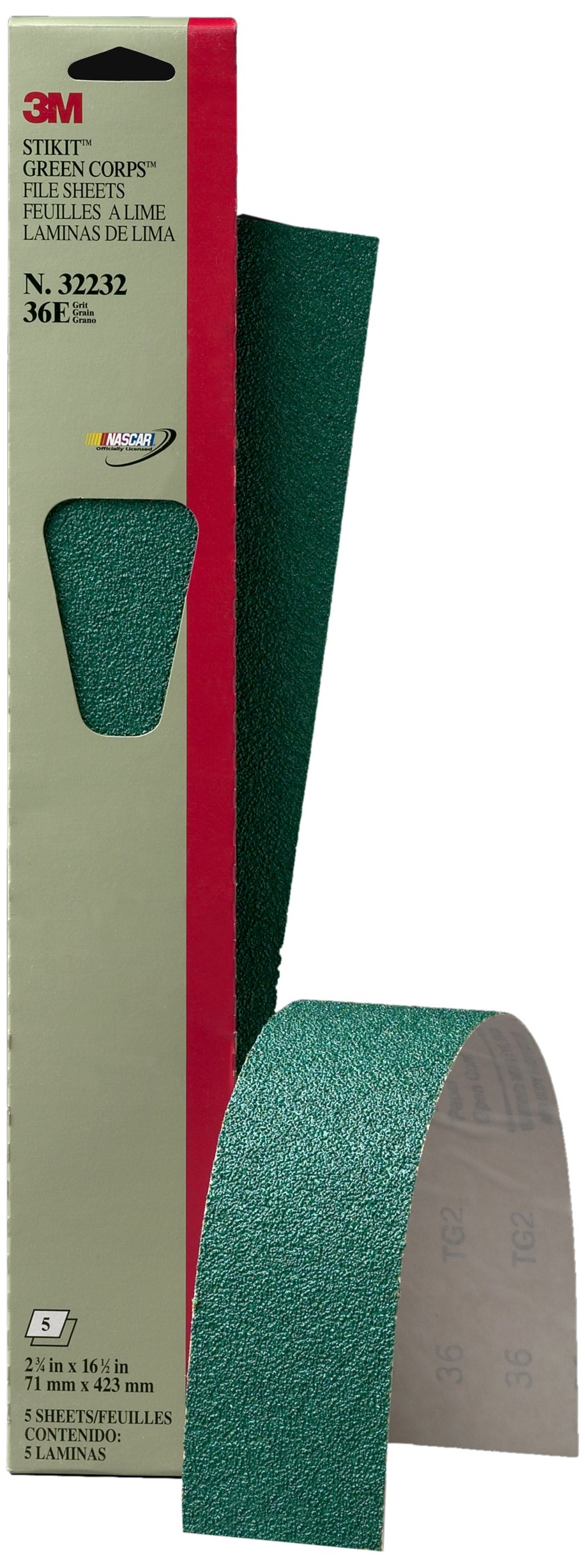 3M 32232 Stikit Green Corps 2-3/4'' x 16 1/2'' 36E Grit Sheet (Pack of 10)