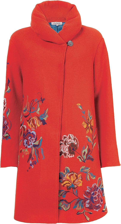 warm rosa Wolle Coat with Stickerei 82501 Gürtel Merino Ivko Mantel Wolle