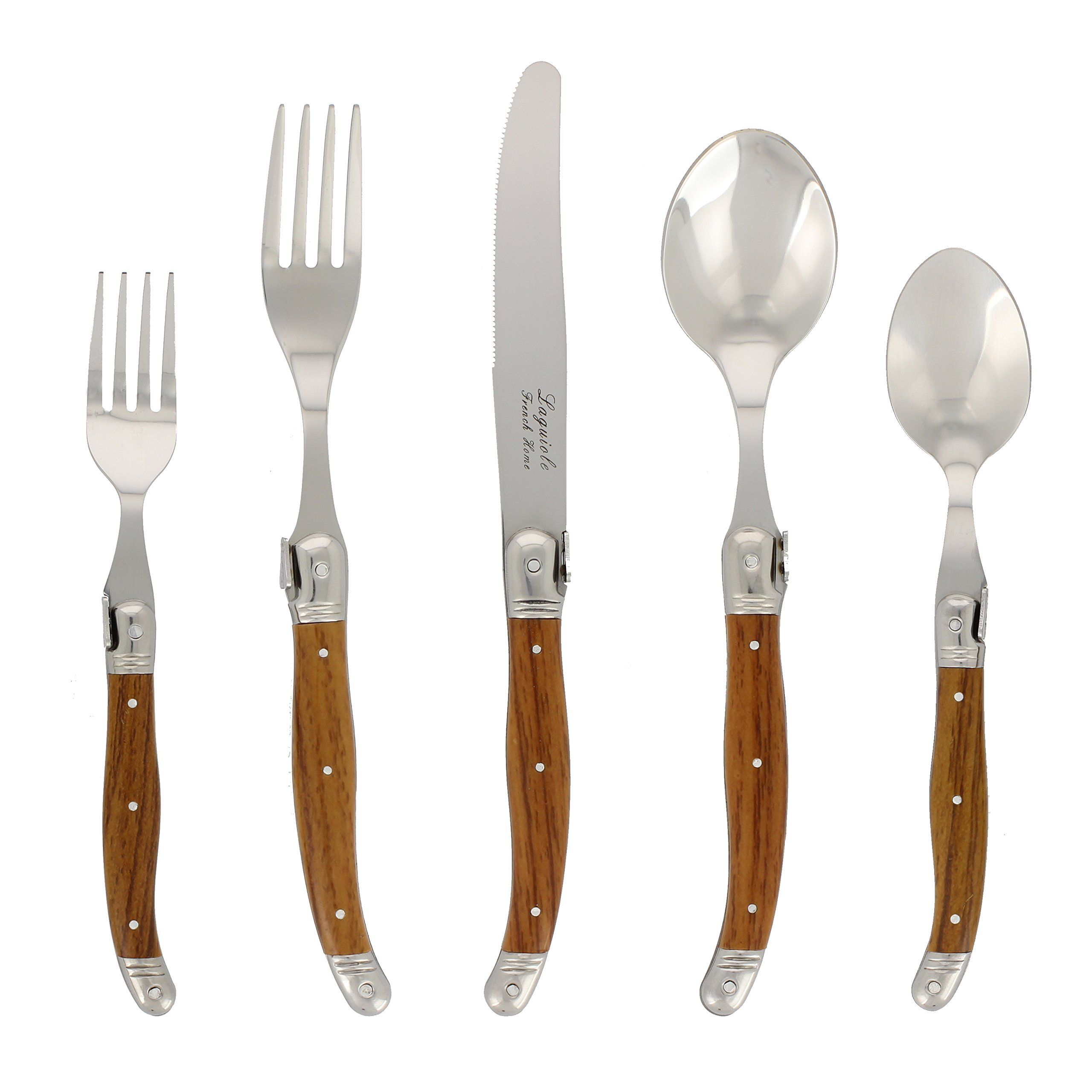 20 Piece Laguiole Flatware Set, Wood Grain
