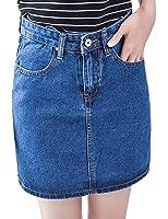 Tanming Women Casual Loose A-line Denim Skirts