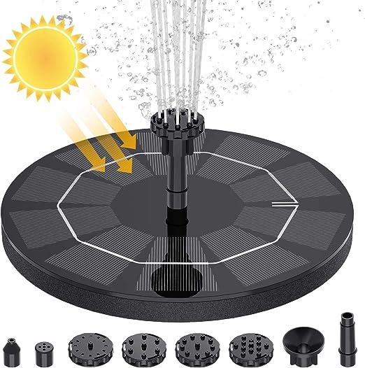 AISITIN Solar Fuente Bomba, Fuente de Jardín Solar, Panel Solar Flotante de batería incorporada de 1500mAH con 6 boquillas, Muy Adecuado para pequeños estanques, decoración de Jardines (3.5W): Amazon.es: Jardín