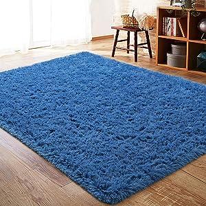 ISEAU Fluffy Rug Carpets Soft Shaggy Area Rug Indoor Floor Rugs for Kids Room Fuzzy Carpet Comfy Cute Nursery Rug Bedside Rug for Boys Girls Bedroom Living Room Home Decor Mat, 5ft x 8ft, Light Navy