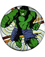 Hulk Punching and Angry on Retro Background Button / Pin