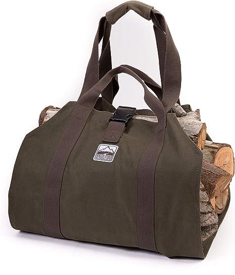 TUFF Firewood Log carrier Canvas Indoor Outdoor Heavy duty Firewood Tote Bag