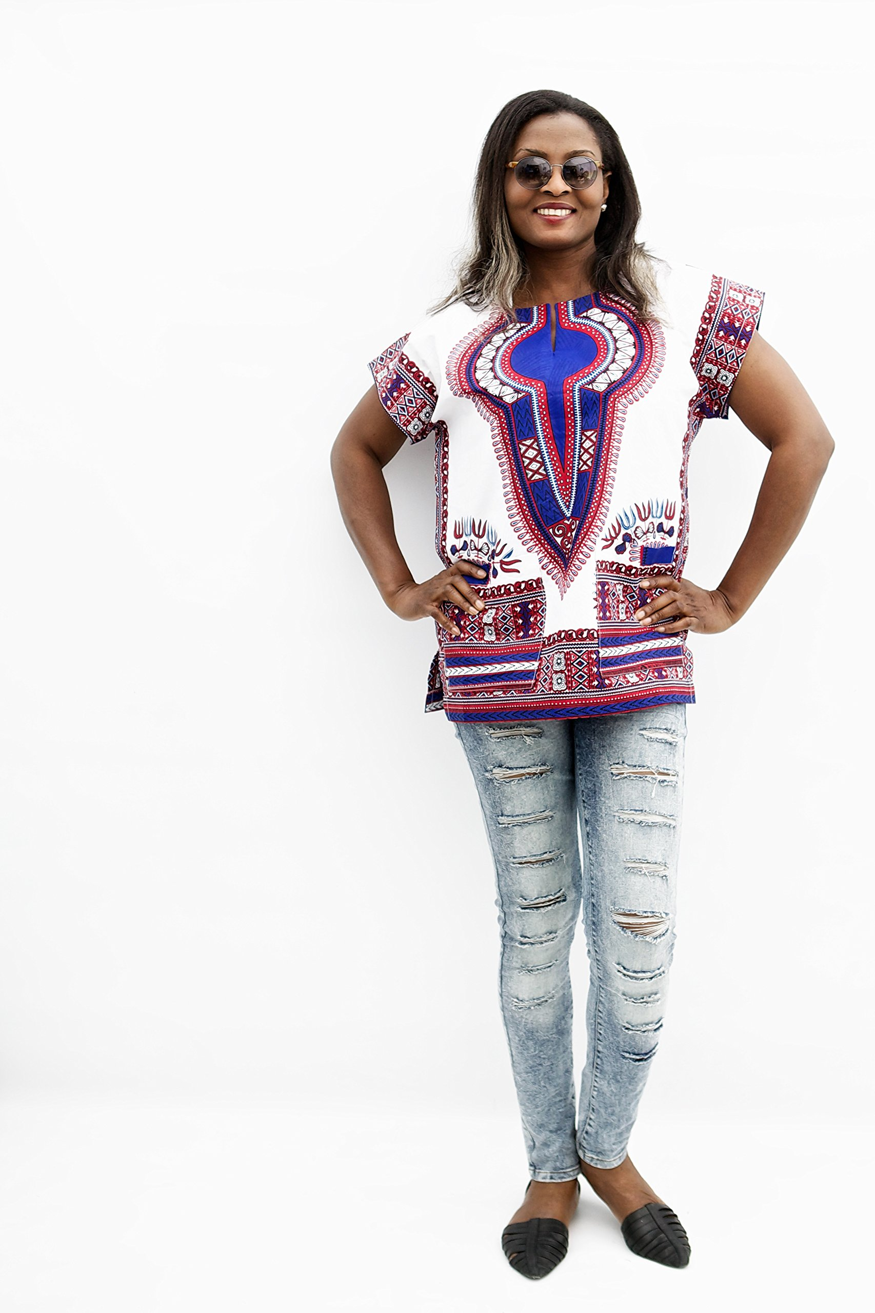 Pafric Designs African Clothing Dashiki For Men and Women - Best Traditional Print Clothes For All Occasion - Made From High Quality Polished Cotton - Love It Or Your Money Back (L-XL, DA021)