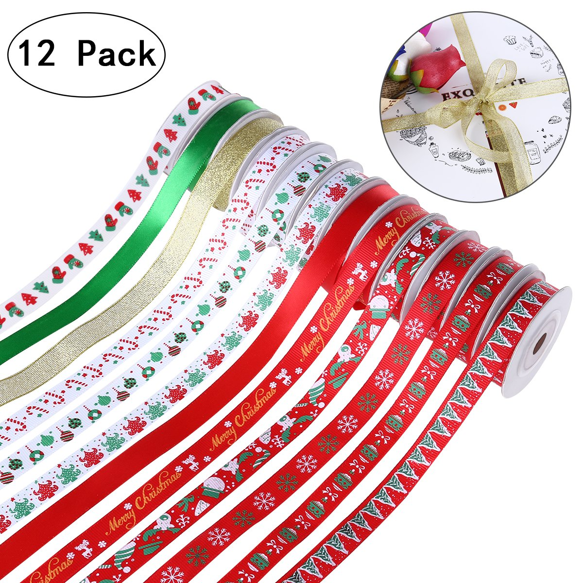 Christmas Grosgrain Satin Fabric Ribbon Set