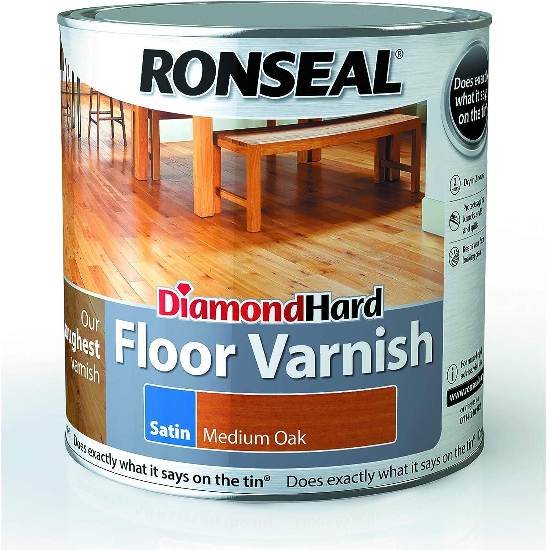 Ronseal Diamond Hard Floor Varnish Satin Medium Oak 2 5l Amazon