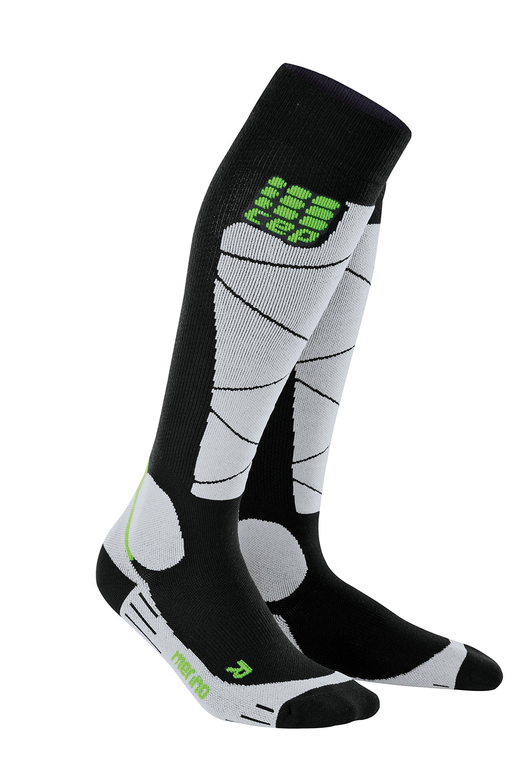 CEP Men's Winter Ski Compression Socks Ski Merino (Black/Grey) 3 by CEP