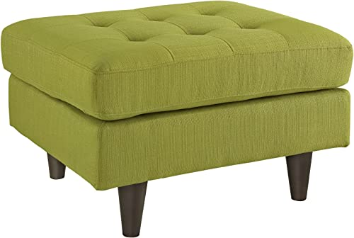 Modway Empress Mid-Century Modern Upholstered Fabric Ottoman In Wheatgrass