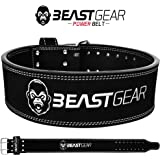 Beast Gear Cinturón Halterofilia – Cinturón Lumbar Powerlifting con Doble Hebilla – Cinturón Levantamiento de Peso de Piel Nobuck – 10 cm de Ancho y 10 mm de Grosor