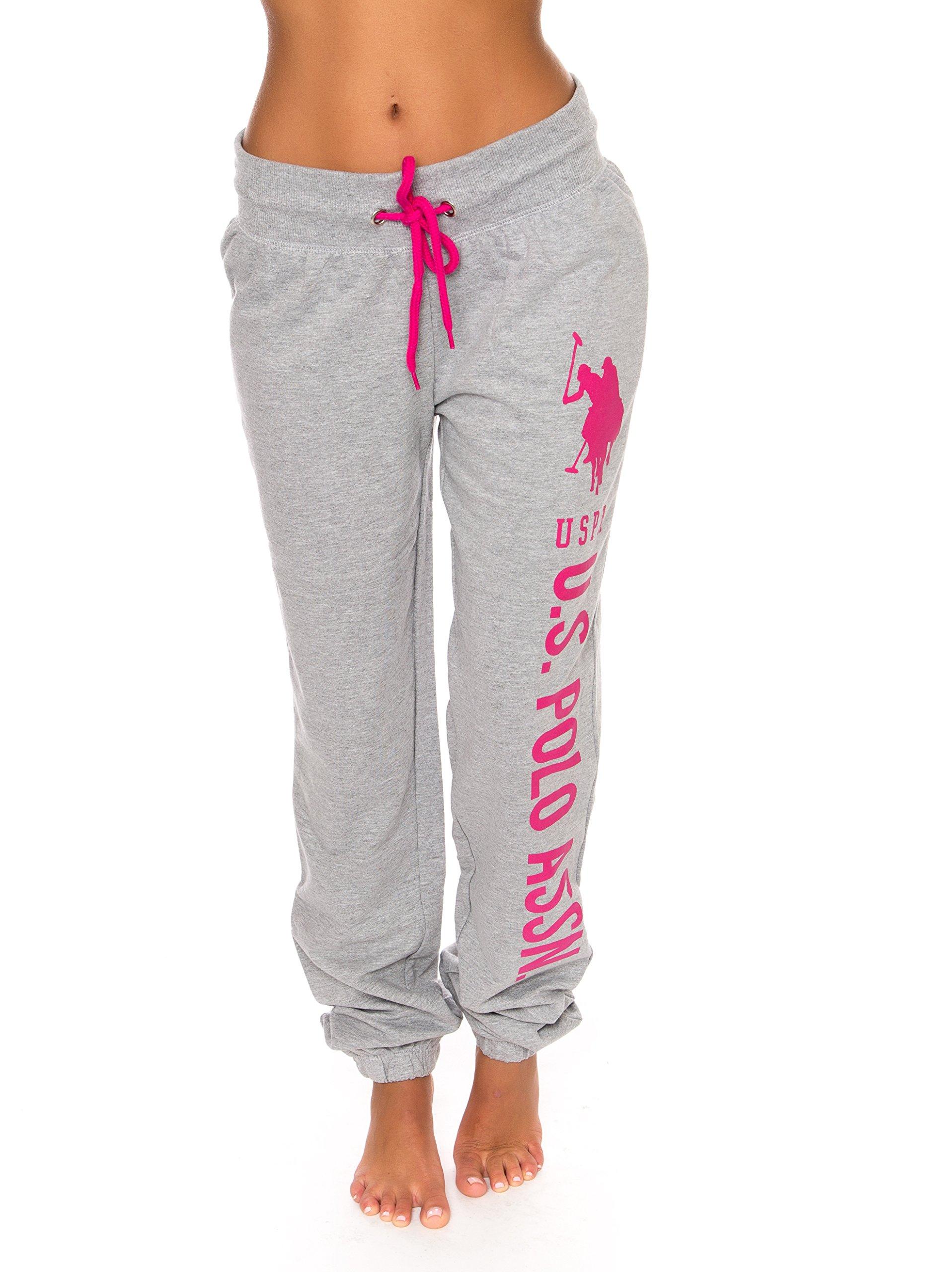 U.S. Polo Assn. Womens Printed French Terry Boyfriend Jogger Sweatpants Heather Grey 2X-Large Plus Size