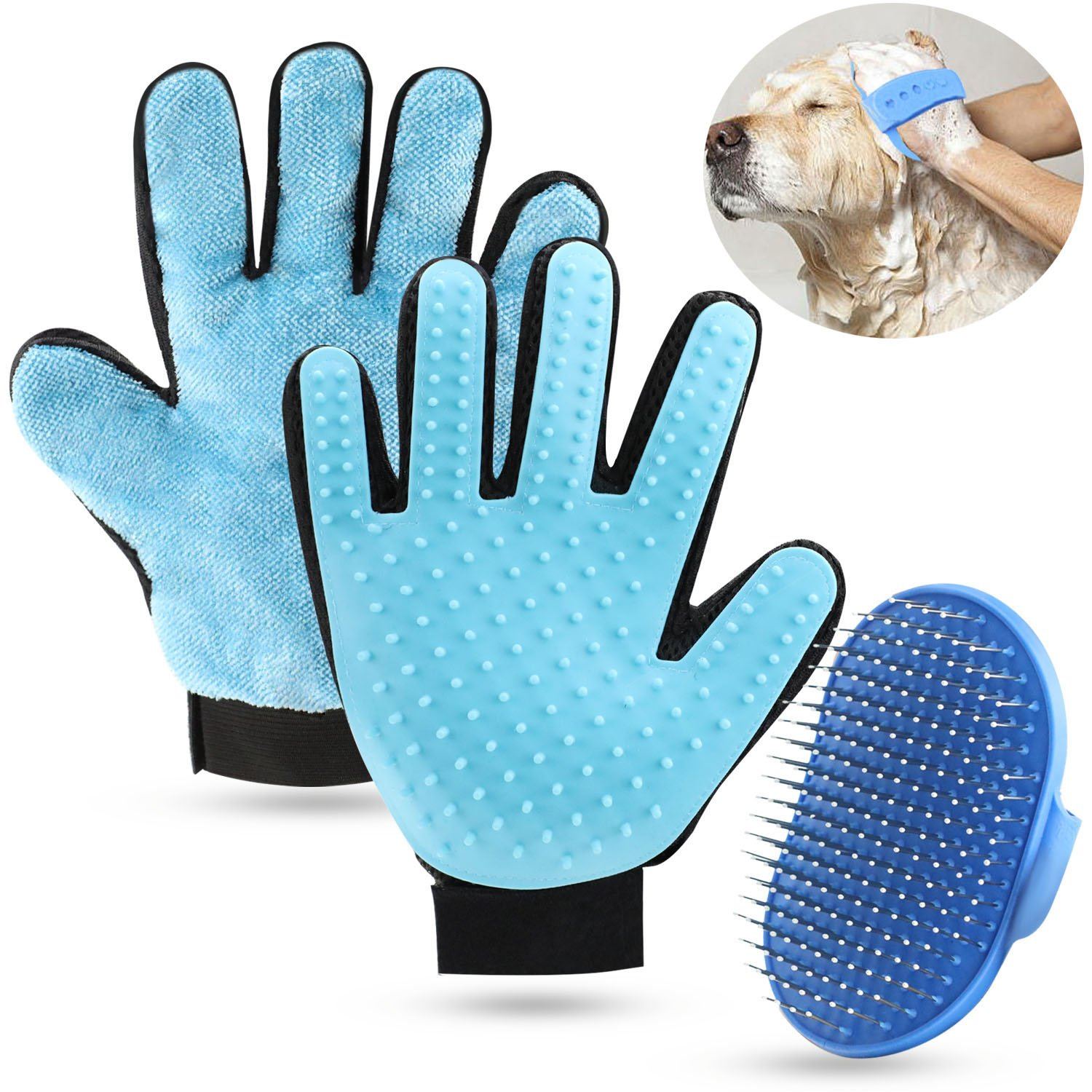 SGONE Pet Grooming Set, 2 in 1 Pet Grooming Glove with Pet Hair Remover Mitt for Furniture Small Slicker Brush for Dogs Cats - Long & Short Fur (Right Hand, Blue)