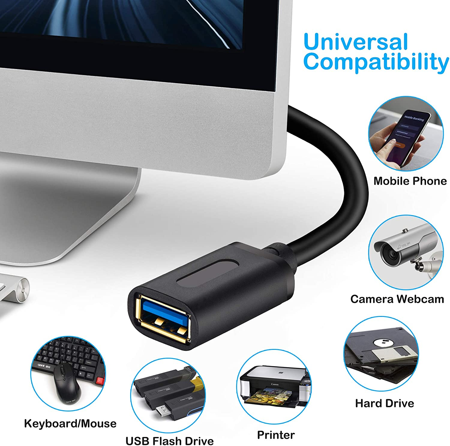 USB Flash Drive Hard Drive Xbox USB 3.0 High Speed Extender Cord Type A Male to A Female for Playstation USB 3.0 Extension Cable 3ft 3Ft-2Pack Card Reader,Scanner,Printer,Keyboard