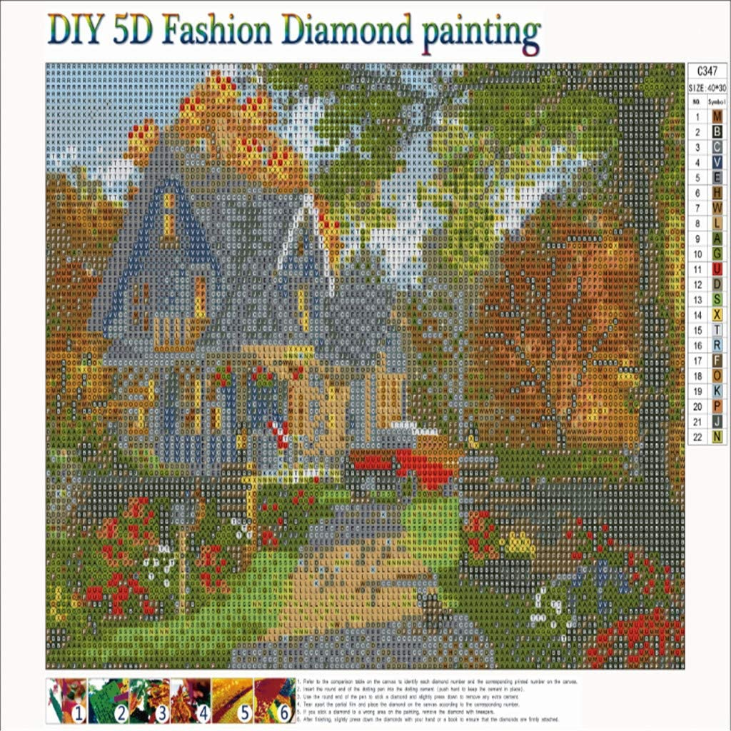 vmree Full Drill Rhinestone Embroidery Painting Crystals Pasted Handcraft Cross Stitch Handiwork Kits Visual Arts Home Decor A, 15.7/×11.8 DIY 5D Diamond Picture