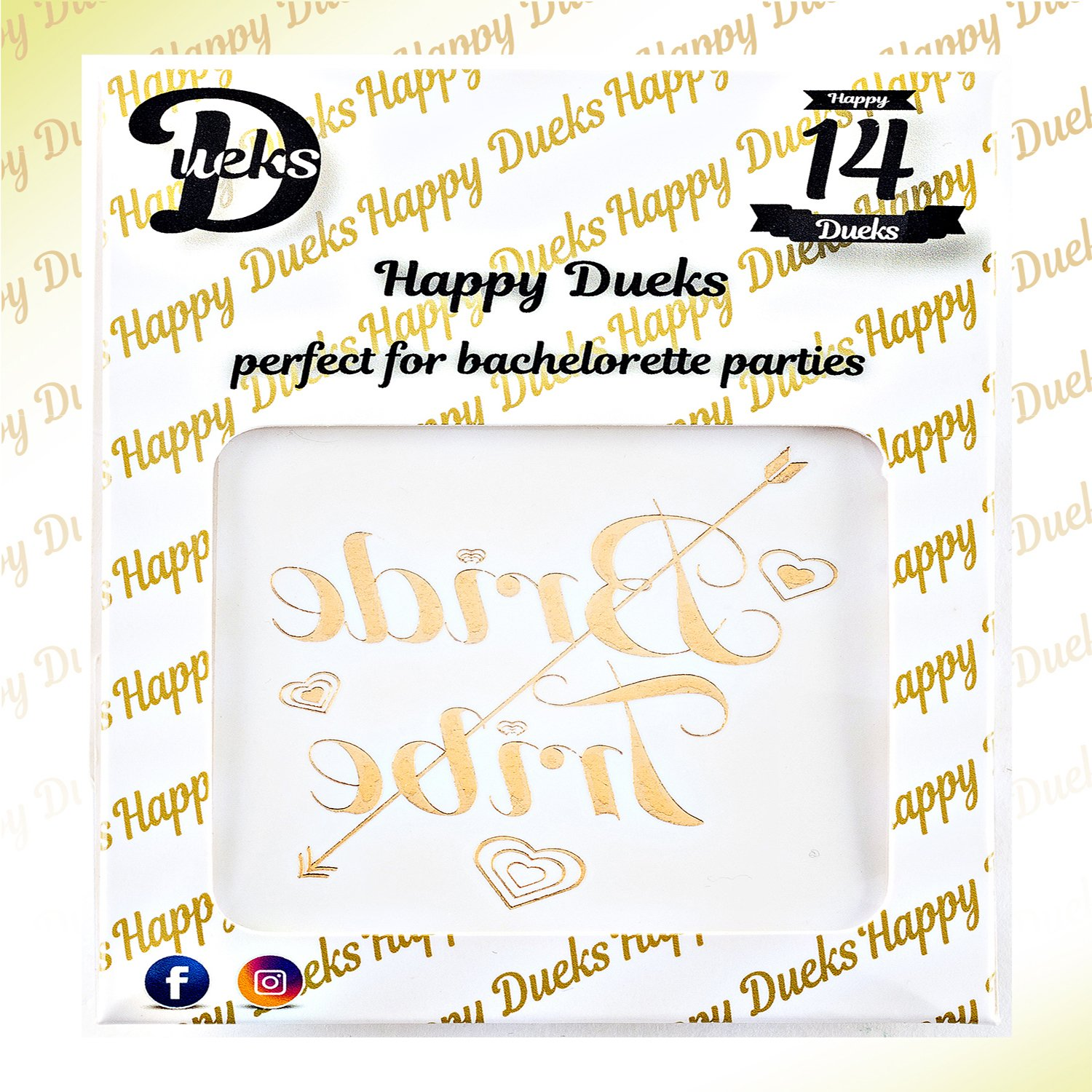 Happy Dueks Bachelorette Party Bride and Bride Tribe Cups,16-Oz Plastic Printed Cocktail Glasses /& 5 Bonus Tattoos-Fun Supply Kit for Hen Party//Bridal Shower//Girls Night,Cold Drinks//Beverages