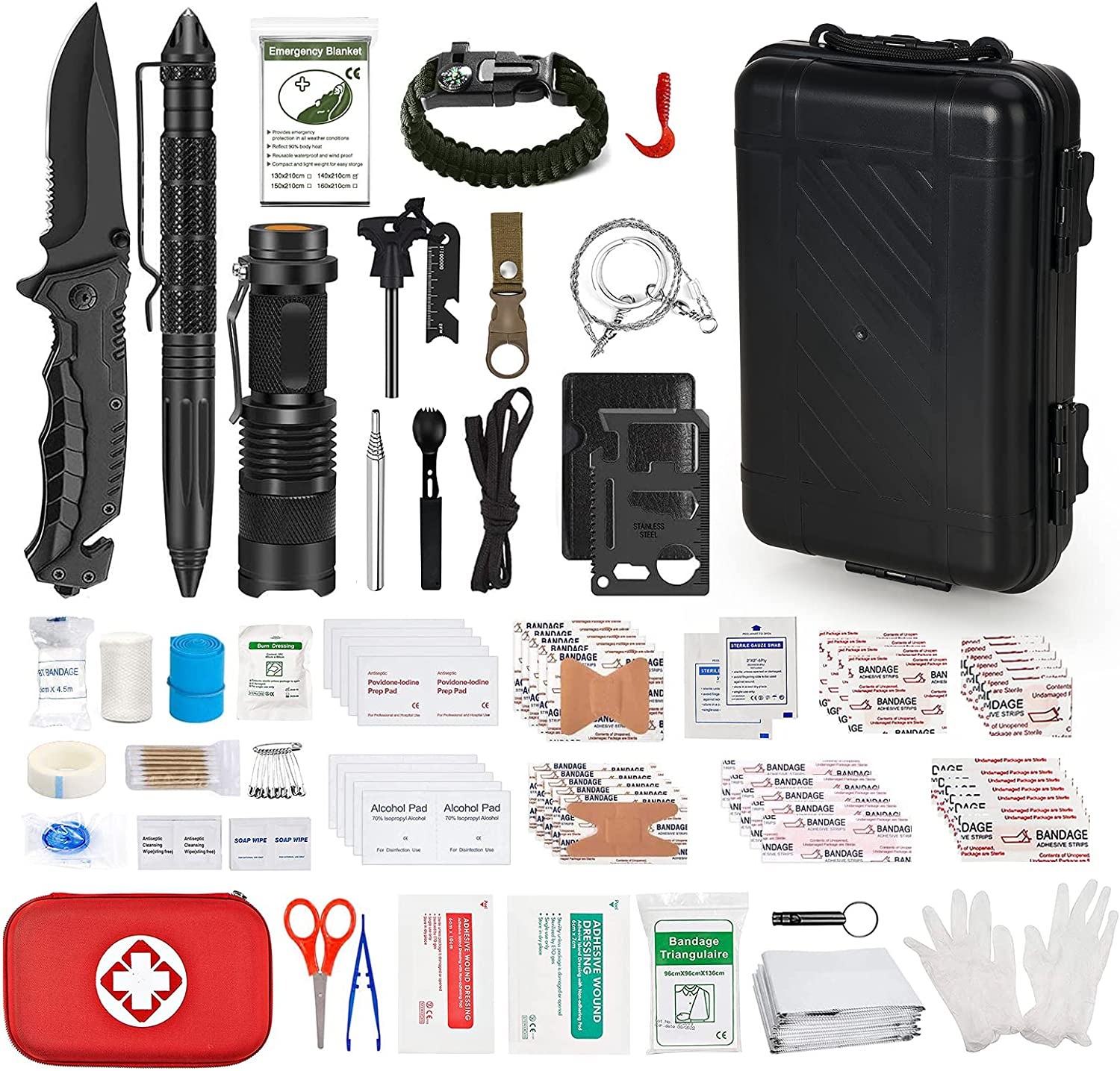 Emergency Survival Kit, 187 Pcs Professional Survival Tools and First Aid Kit, Camping Kit for Outdoor Adventure, Camping, Hiking, Hunting, Natural Disasters, Home, Office and Car