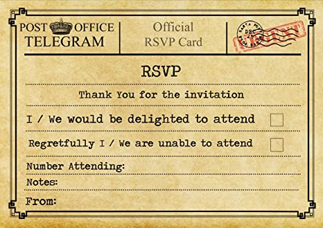 Vintage Telegramma Macchina Personalizzato Rsvp 60 Rsvp Cards