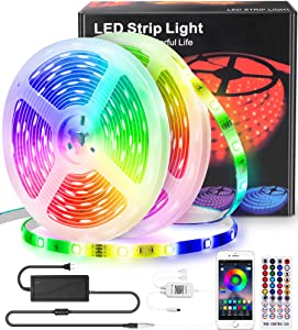 Led Strip Lights 65.6ft - RGB Led Light Strip 5050 Strip Lights, Color Changing Led Strip Lights with Remote, App and Bluetooth Control, Music Sync Led Lights for Bedroom Kitchen Ceiling Bar TV Party