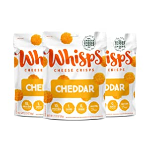 Whisps Cheddar Cheese Crisps | Keto Snack, Gluten Free, Sugar Free, Low Carb, High Protein | 2.12oz (3 Pack)