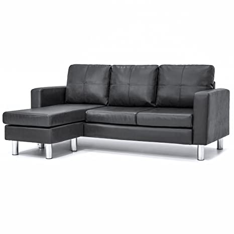 Best Choice Products Leather L-Shape Sectional Sofa Couch w/Reversible  Chaise Ottoman (Black)