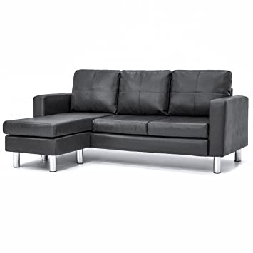 Best Choice Products Leather L Shape Sectional Sofa Couch W/ Reversible  Chaise Ottoman (