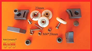 Juego de 4 ruedas de rueda para mampara de ducha Tipo B 23 mm, altura de tornillos y tuercas, tapones: Amazon.es: Bricolaje y herramientas