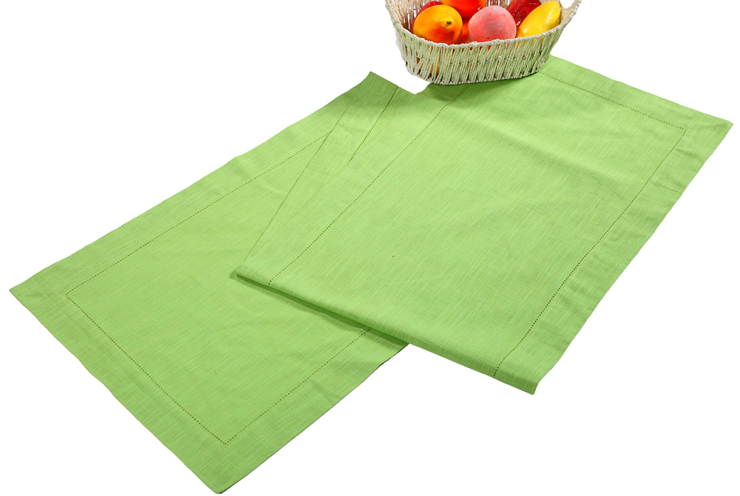 Linen Clubs Slub Cotton Table Runner in Lime Green Color with Hemstitched Detailing and Mitered Corner Finish on edges-100% Cotton Size 16x72Inch