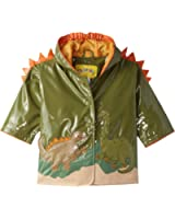 Kidorable Green Dinosaur PU All-Weather Raincoat for Boys With Fun Dino Spikes and Volcano