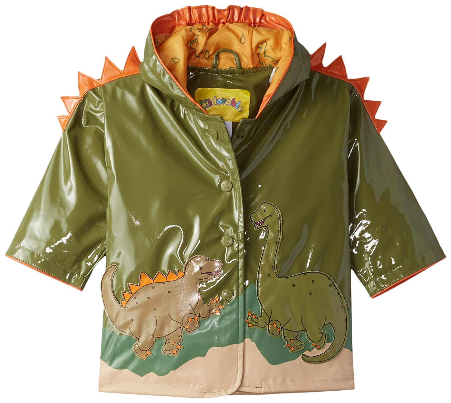 Kidorable Green Dinosaur PU All Weather Raincoat for Boys With Fun Dino Spikes and Volcano