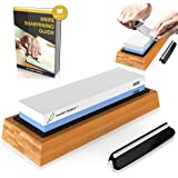 Premium Knife Sharpening Stone 2 Side Grit 1000/6000 Waterstone | Best Whetstone Sharpener | NonSlip Bamboo Base & Angle Guide