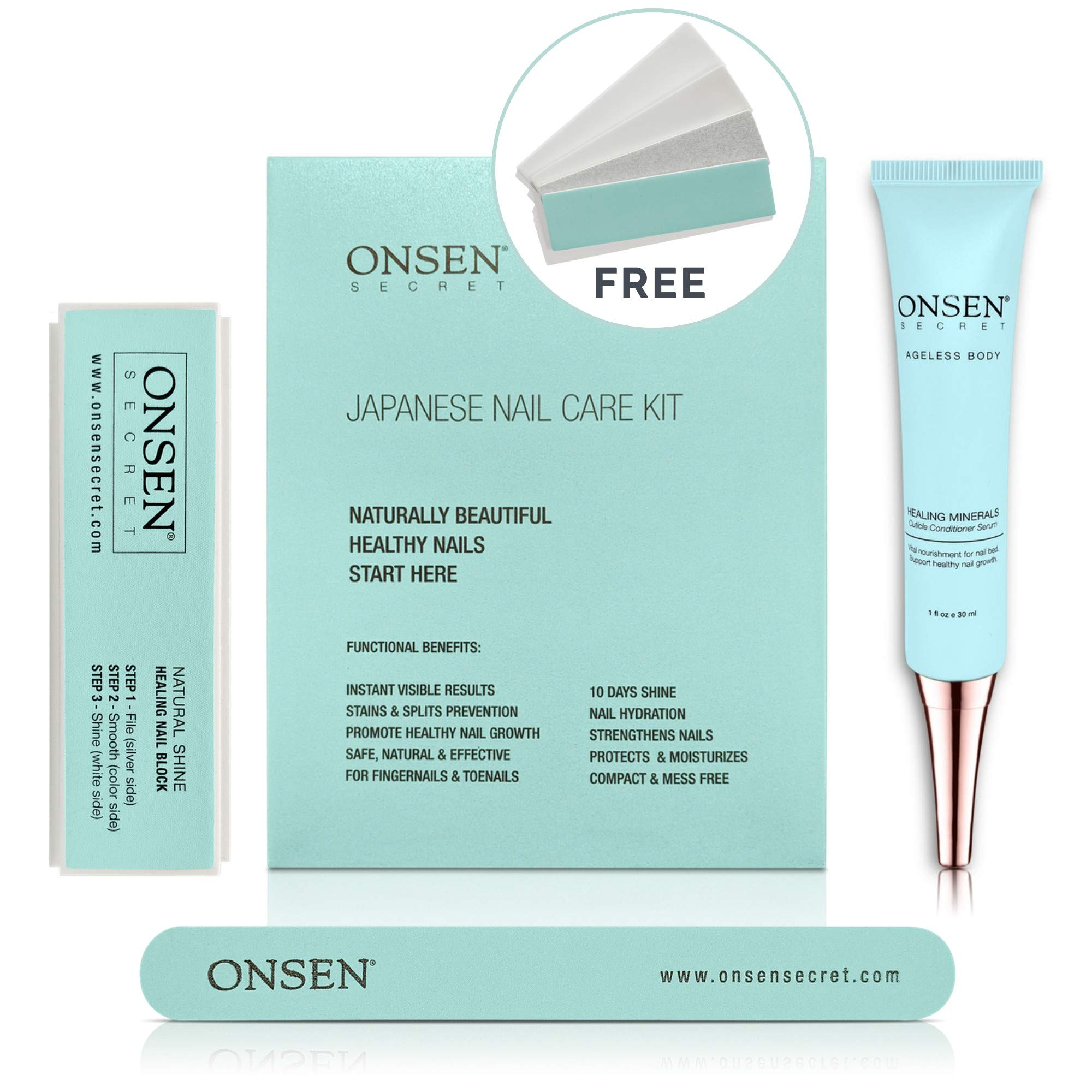 Unique Japanese Nail Care Kit - Professional Nail File, 3-Way Nail Buffer Block And Cuticle Cream With Free Replacement Pads For Perfect Nails - The Most Amazing Travel Size Nail Care Kit We Ever Made by Onsen