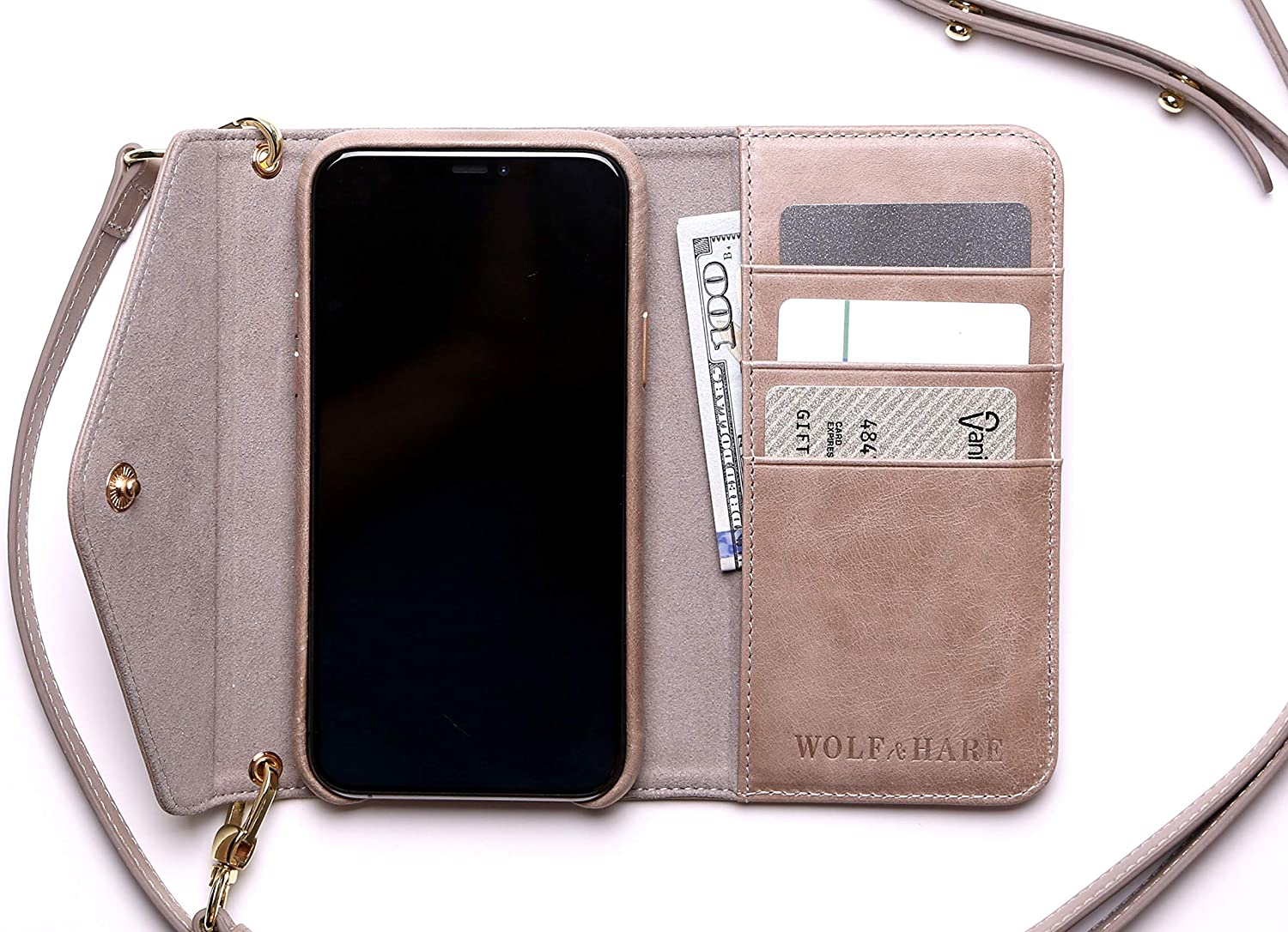 Wolf & Hare Beige Leather Phone Wallet Purse for iPhone 11 Pro Max - Luxury Crossbody Phone Wallet - iPhone Wallet Purse with Strap - Magnetic Closure - 3 Credit Card Slots - Great Gift for Women
