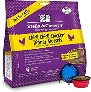 Stella & Chewy's Freeze Dried Cat Food,Snacks Super Meal Mixers 18-Ounce Bag with YHS Pets Food Bowl - Made in USA (Chicken)