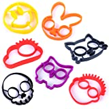 Hugmo Egg Molds - Pack of 7 - Cat, Smiley Emoji, Skull, Owl, Cloud, Sunglasses Man