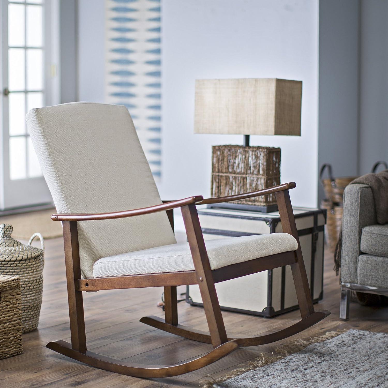 Amazon com belham living holden modern indoor rocking chair upholstered buttercream kitchen dining